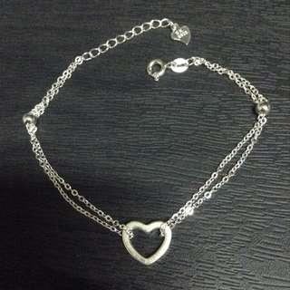 Heart Double Chain Silver Bracelet