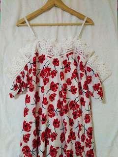 BN Long floral lace satin dress