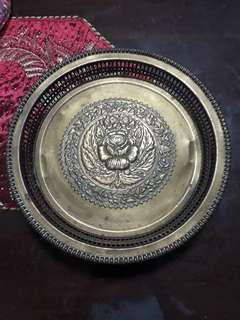 Old brass copper tray