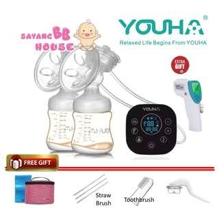 Youha Onyx Duo Black Series Double Electric Breast Pump + FREE GIFT Youha Cooler bag, baby toothbrush , Straw Brush, Manual Conversion Kit