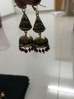 Ethnic Colorful Lotus Gold Jhumka