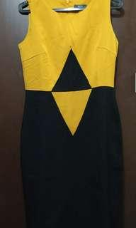 Black and Mustard Office dress