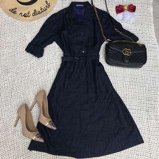 HQ Japanese Navy Blue Vintage Dress with matching belt fully lined 👌🏻