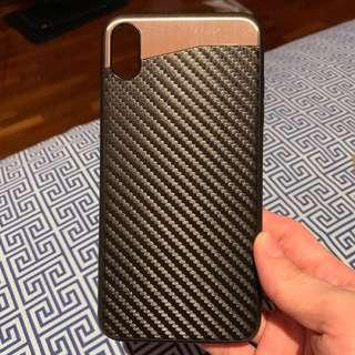IPhone XS Max Case with carbon fibre design and silver top
