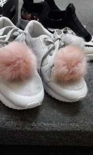 Stradivarius White Shoes with Free Furry Balls