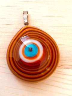 🎉Evil Eyes or Lucky Eyes or Cat Eyes From Turkey 🇹🇷 Made in Istanbul pendant colour orange