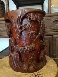 多年收藏紅檀木名家雕刻筆筒