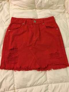 Fire red skirt