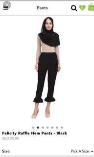 Felicity Ruffle Hem Pants - Black