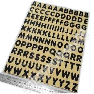 Sticker Cutting MOTOR Alphabet Abjad Huruf A Sampai Z Font VAGROUNDED BT Hitam Big Size 3cm X 2.5cm New Ready Stock