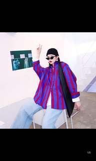 "Cool korean oversized ""Boyfriend"" striped shirt"