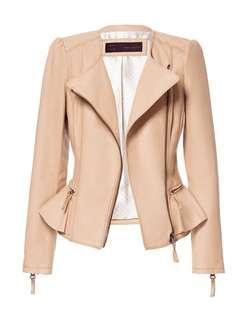 Zara Leather Peplum Jacket in BLACK
