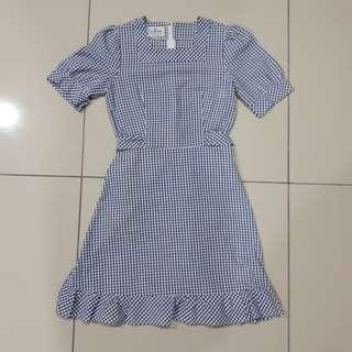UK8 Vintage Gingham blue Alice dress