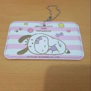 7-11 Hello Kitty行李吊牌帕恰狗粉紅條紋款
