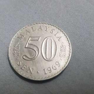 50 cents sen coin syiling longkang Malaysia Parliament 1969 (Security Edge)