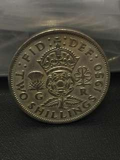 1950 Great British kingdom two shillings Nice Coin 👍👍👍