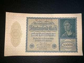 1922年德國10000馬克全新直版圖十字水印