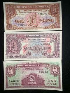 1950年英國軍用鈔票1英鎊一套三張全新直版