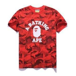 A Bathing Ape BAPE red camo shirt