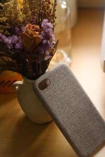 FW 全新冬天電話殼 麻棉料 布料 溫暖手感 杏色週日格仔千島紋 iPhone 7 case (其他型號可訂做)