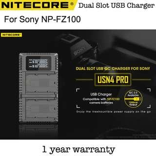 Nitecore USN4 PRO Sony NP-FZ100 FZ100 Battery Dual Slot USB Travel Charger
