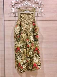Army Green Floral Print Mini Dress