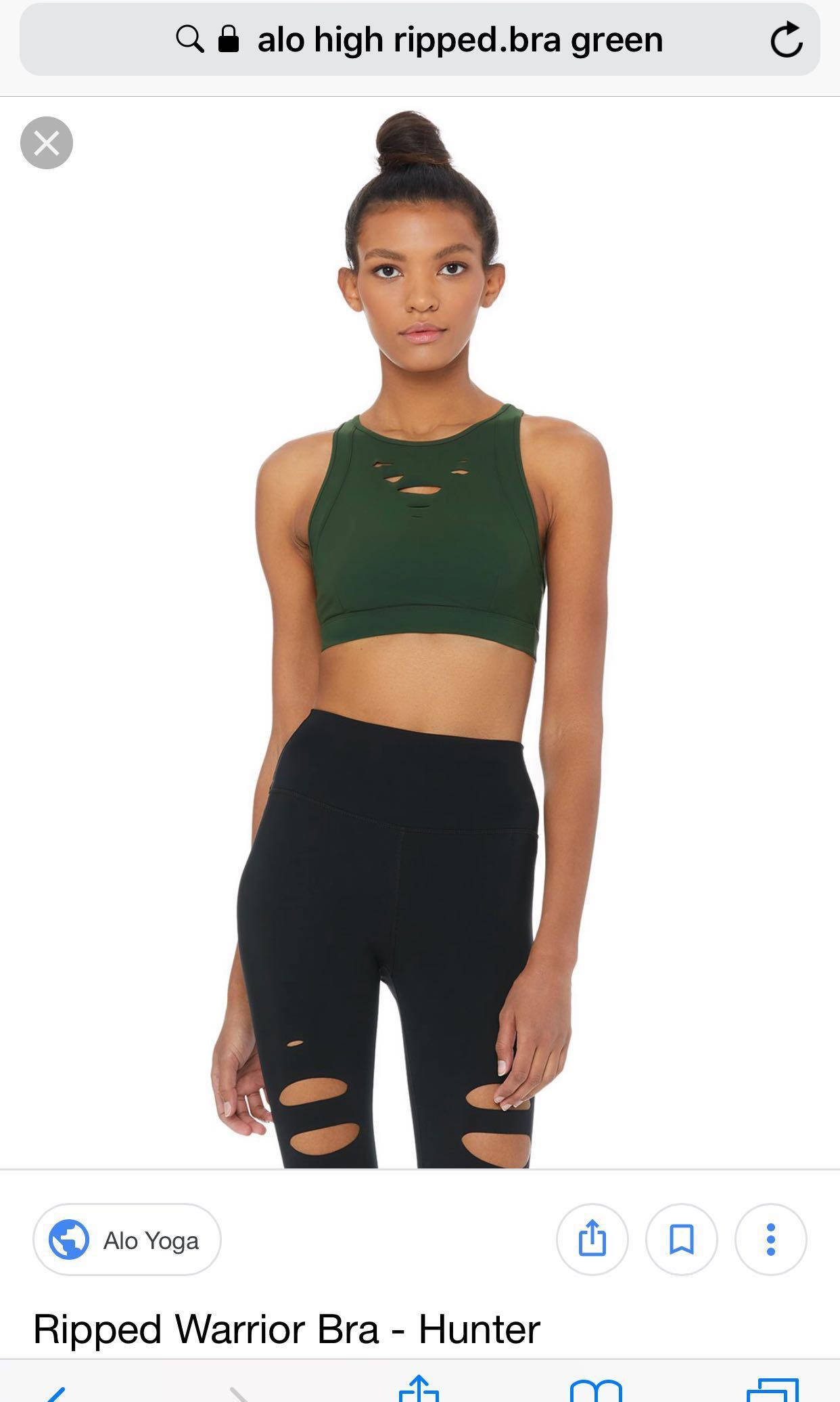 60f5bfd007 Alo yoga ripped warrior bra M (color : hunter), Sports, Sports ...