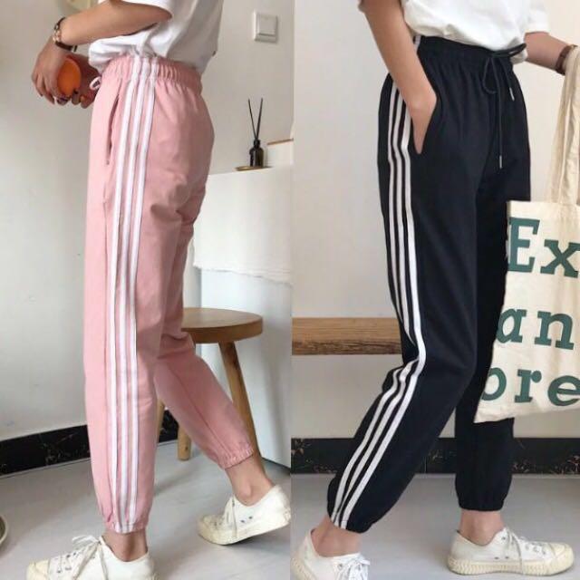 finest selection 1c195 eb0f7 Black Pink Adidas Style Pants sports sweatpants run jog sporty yoga gym  pants exercise sweat long pants loose trousers korean ulzzang kpop, Women s  Fashion, ...