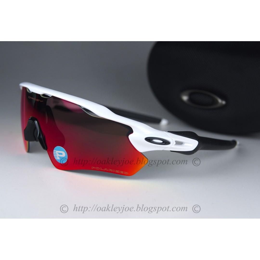 aa237787cd BNIB Oakley Custom Radar EV white + blackc icon + oo red iridium polarized  sunglass shades
