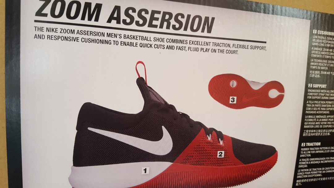 443057bd9716 Brand Nee Authentic Nike White Zoom Assersion Basketball Shoes ...