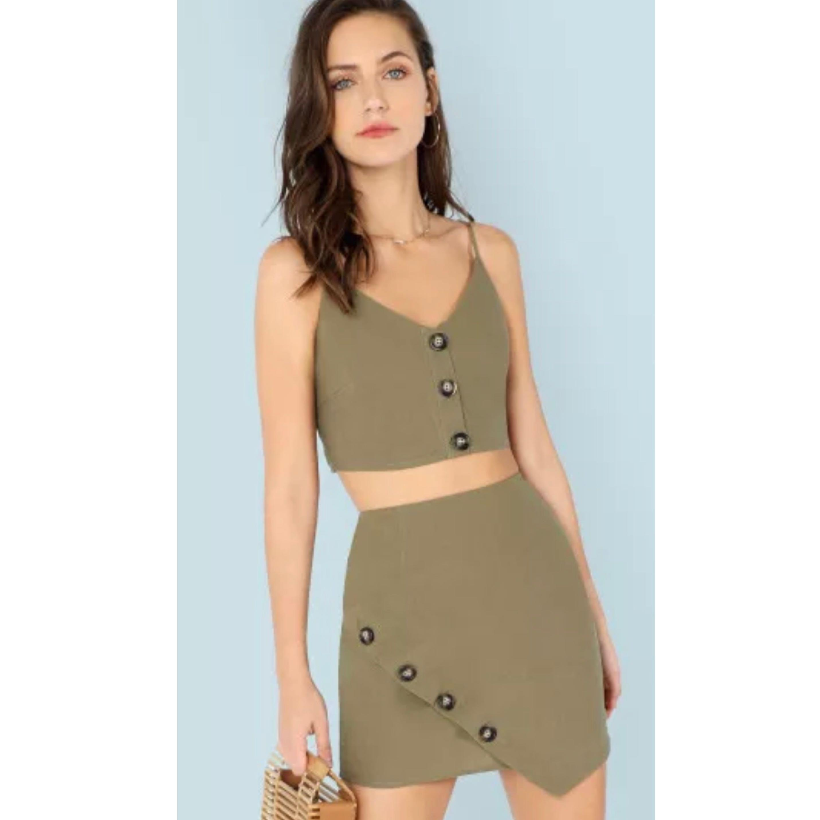 Button Front Cami & Skirt Two Piece Set