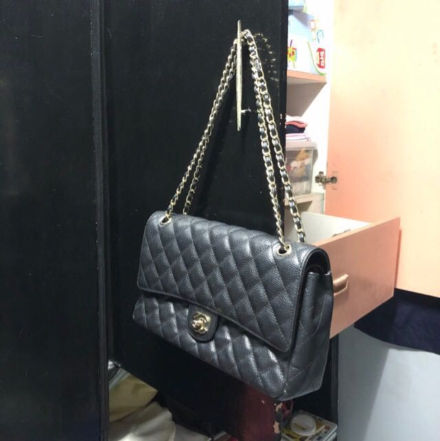 656487af42d3 Chanel Caviar Double flap with dustbag and hologram code Replica ...