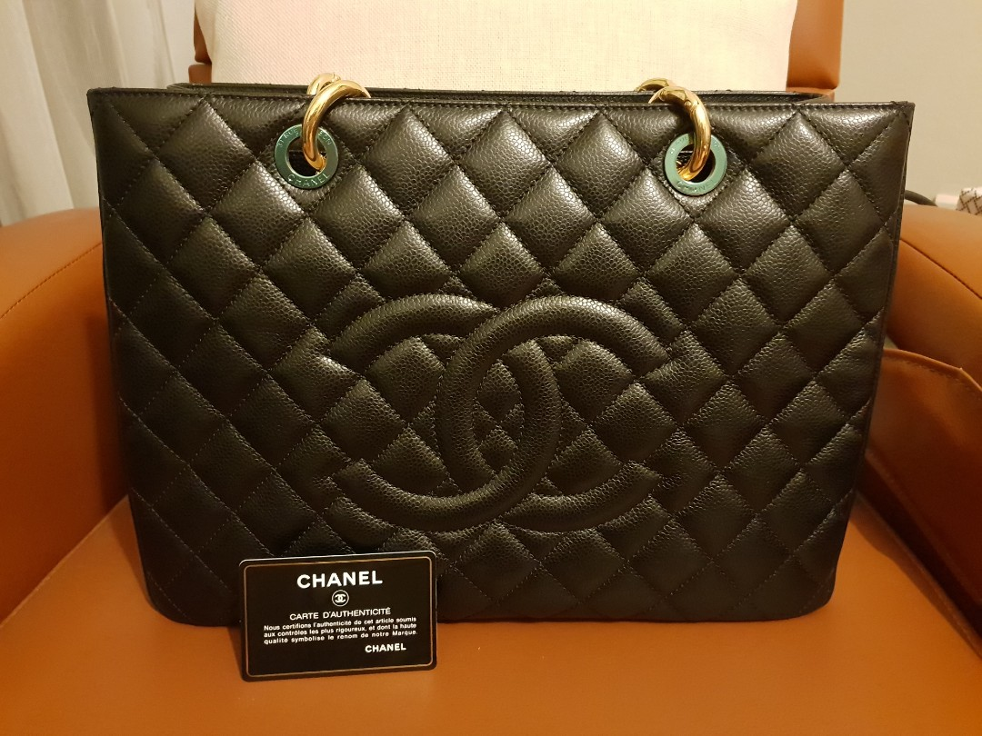 a361f1592ef8 Chanel Grand Shopping Tote GST Black Caviar Leather in Gold Hardware ...