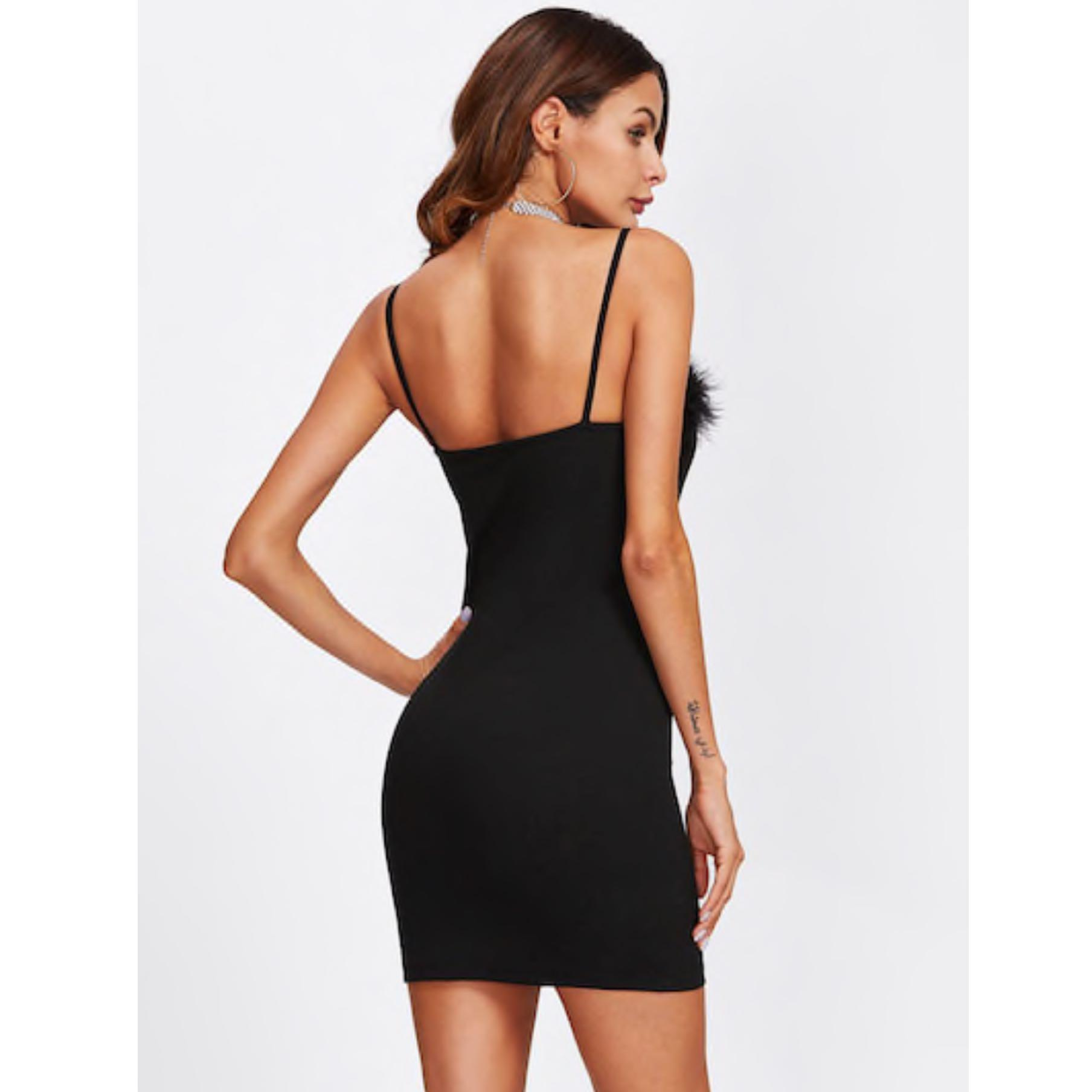 Faux Fur Detail Fitted Black Dress