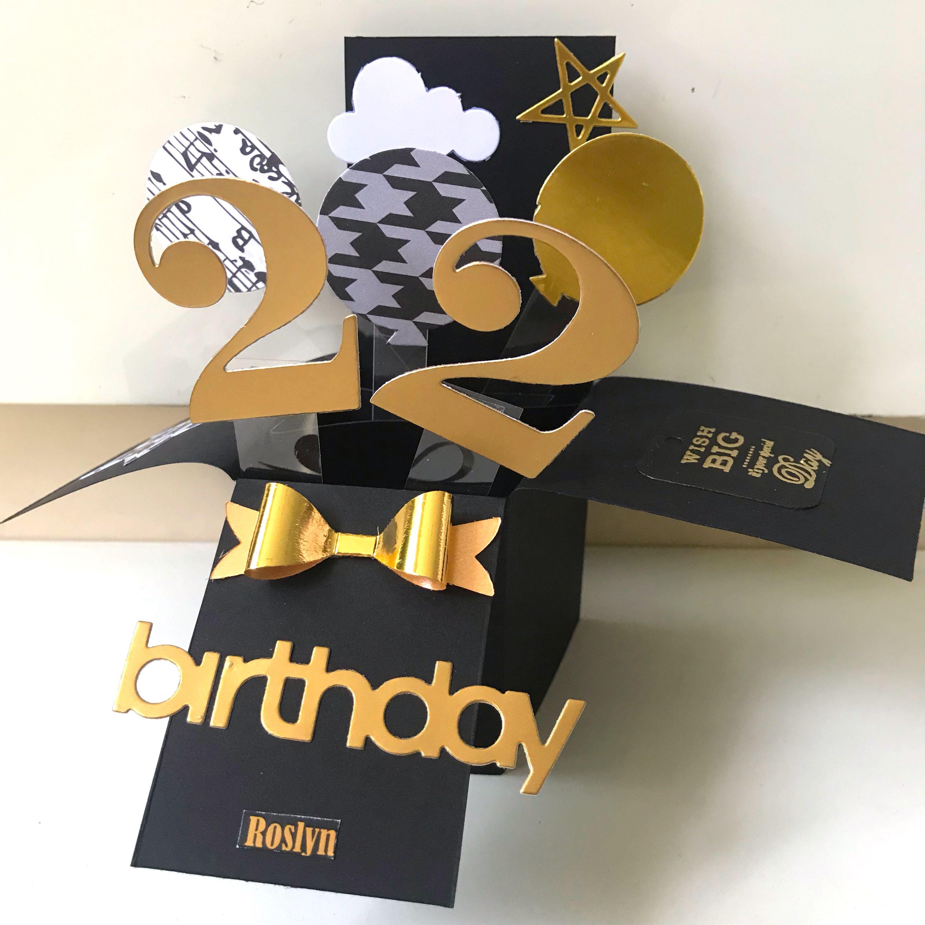 Happy 22 Birthday Handmade Pop Up Card Design Craft