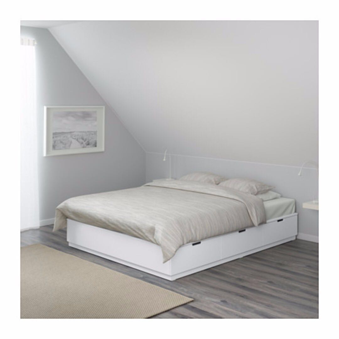 Ikea Nordli Bed Frame With Storage White Sparingly Used