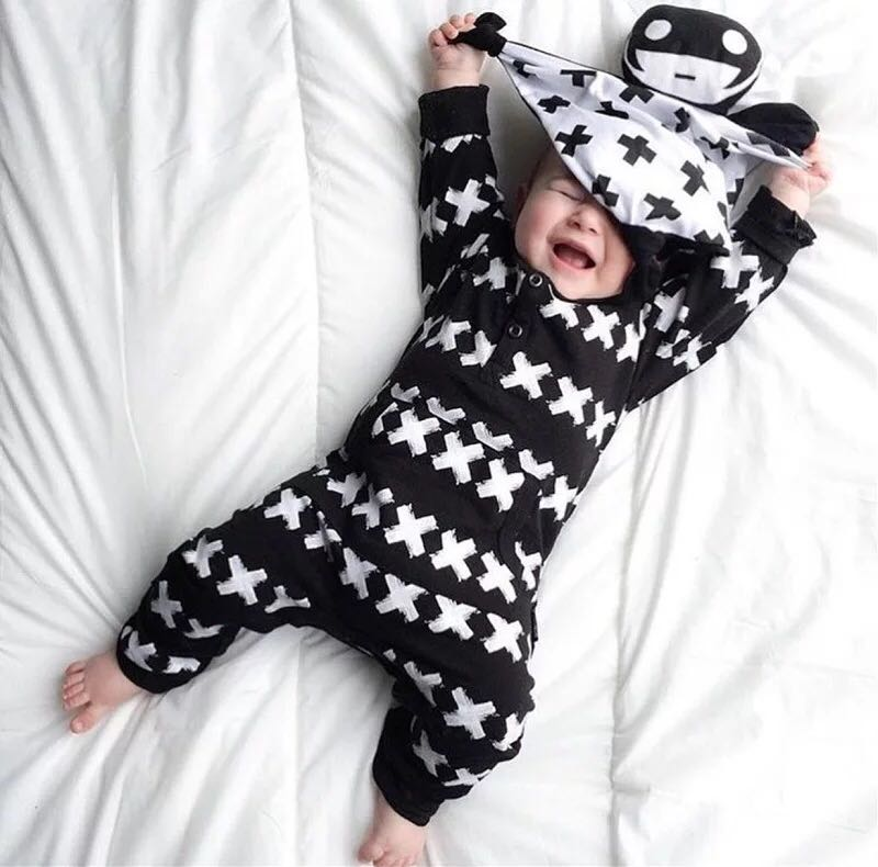 81c4d65b64a 🌟INSTOCK🌟 Cross All Over Print Black Long Sleeves Jumpsuit Kids ...
