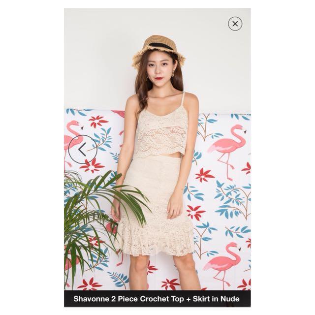 47efc1bb lbrlabel) Shavonne 2 Piece Crochet Top + Skirt in Nude, Women's ...