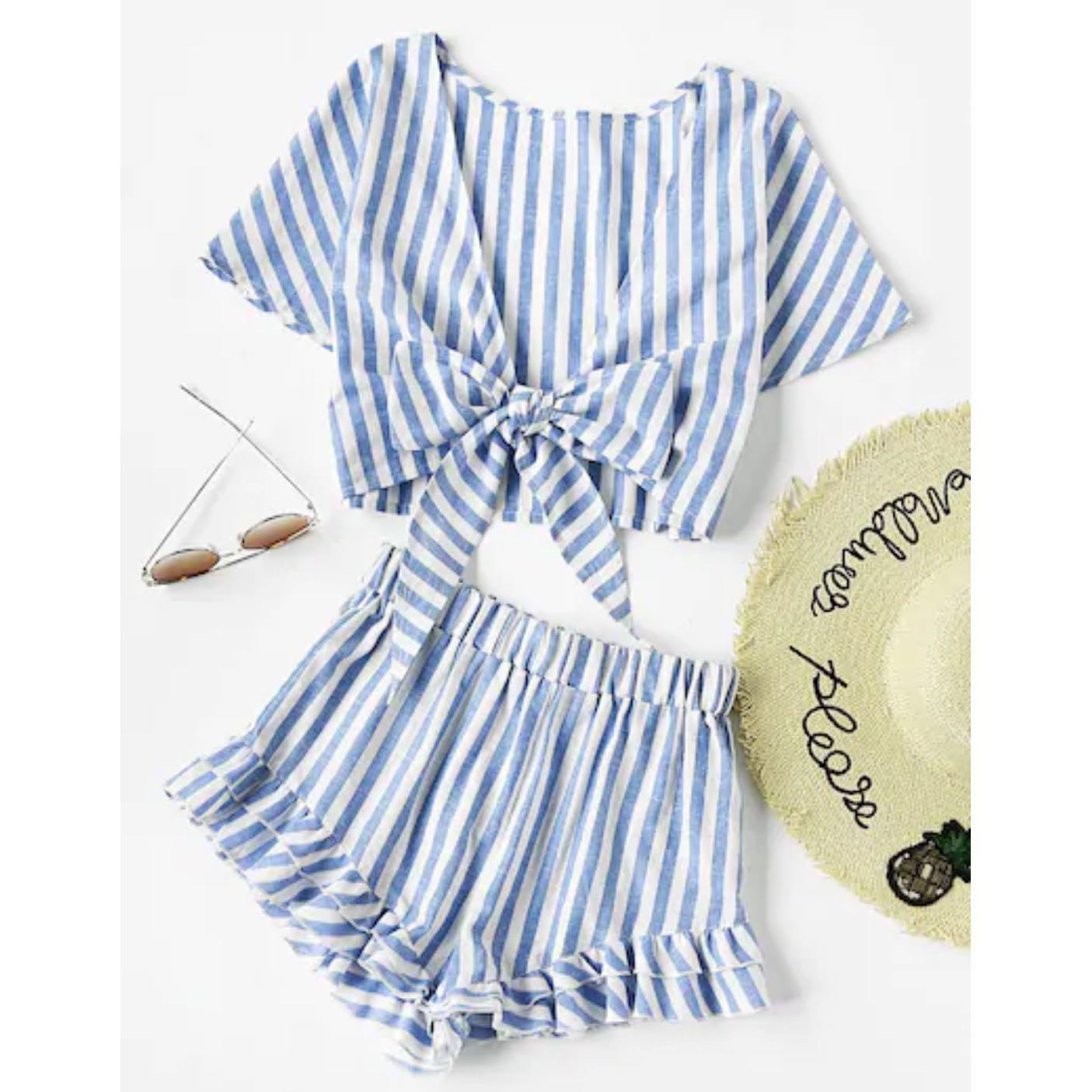 Plunging Bow Tie Two Way Top And Ruffle Shorts Two Piece Set