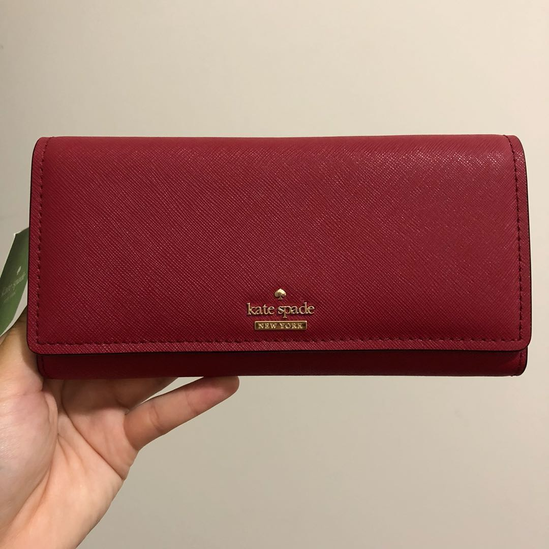 65fdd27985 SALE INSTOCK Kate Spade Cameron Street Celina Long Snap Bifold Trifold  Wallet Rosso Red