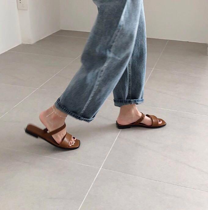 2e64a55e1f5 Square Toe Strappy Sandals with in Brown