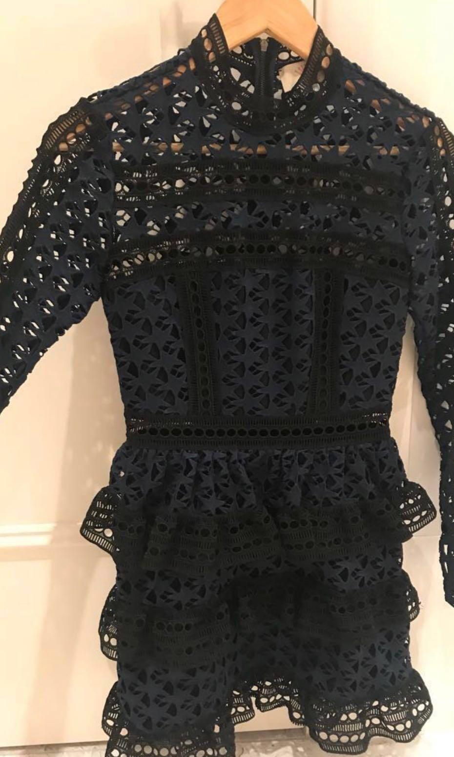 Star lace panel dress navy/black (self portrait inspired)