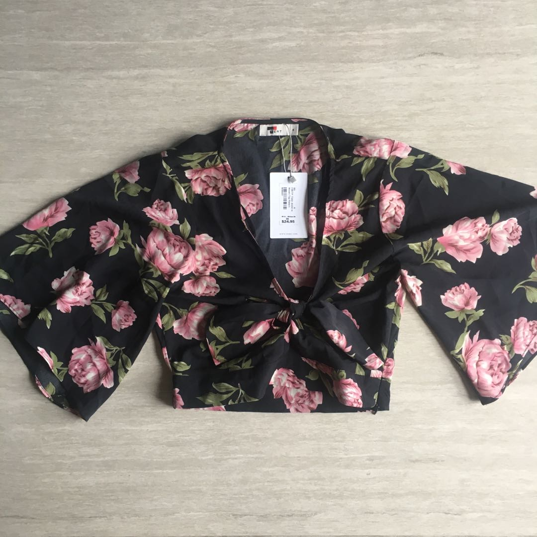 c073c0c979f2 Temt Floral Kimono Front Tie Bell Sleeves Crop Top, Women's Fashion,  Clothes, Tops on Carousell