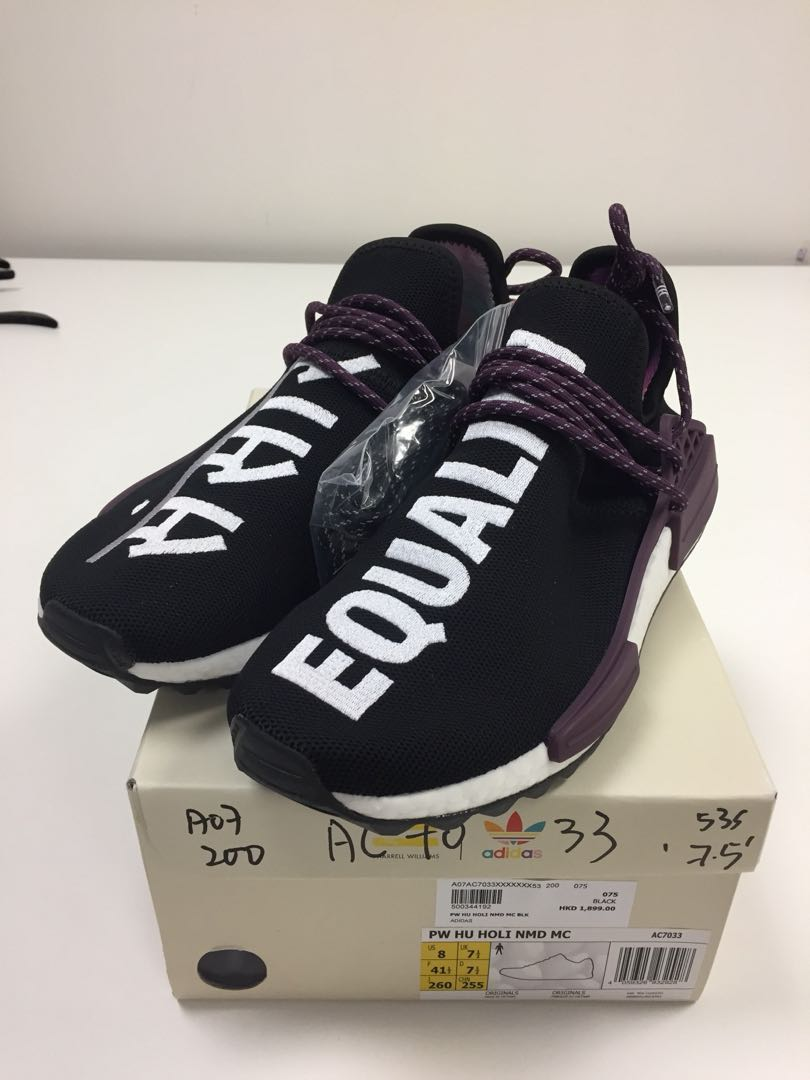 c79da60998965 UK 7.5 全新港行有單PW Hu Holi NMD MC AC7033 Pharrell Williams x Adidas Originals  Black 紫黑色Human Race