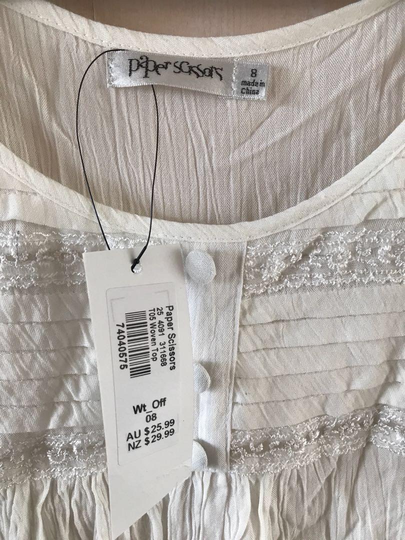 White Top, lace detail size 8