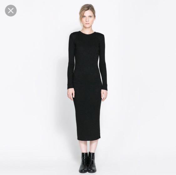 62245b6041b Zara Black Knit Ribbed Midi Crew Sweater Dress Women S Fashion