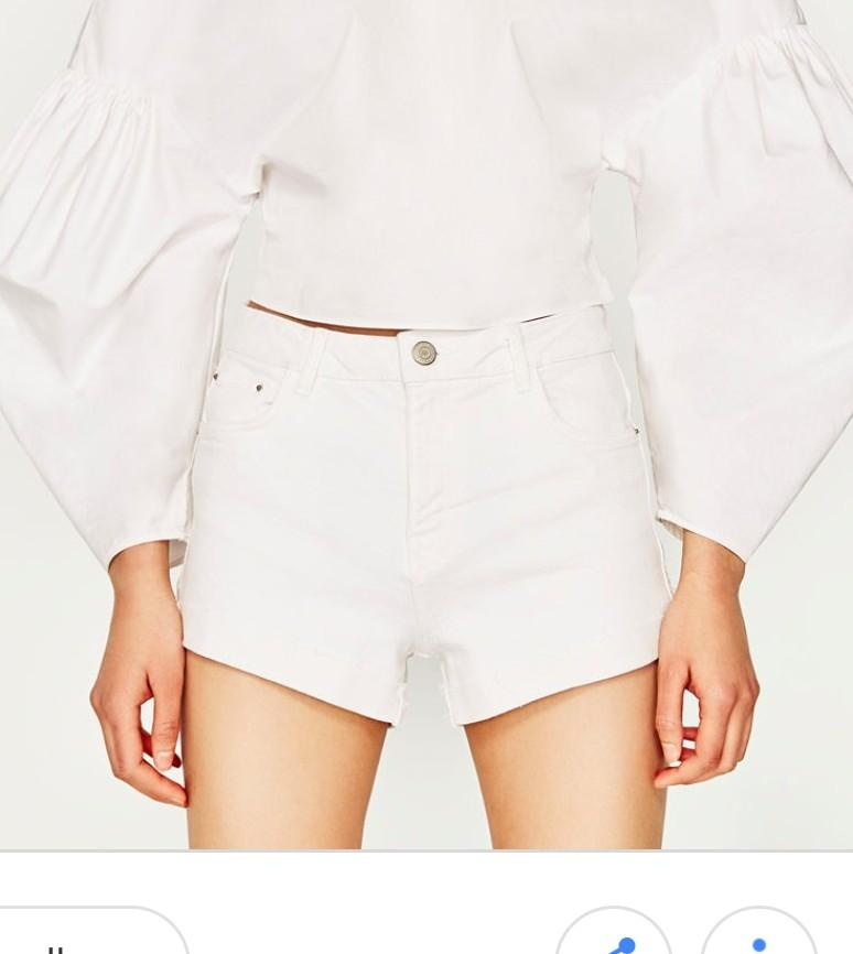 d9762f64f1 Zara high rise White Denim Shorts, Women's Fashion, Clothes, Pants ...