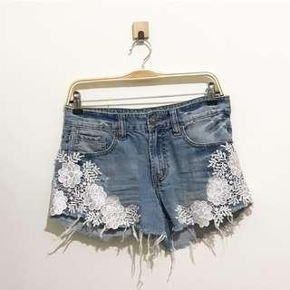 Denim lace shorts jeans