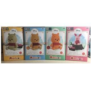 全新 Amicot 初版 再版 Winnie the pooh 小熊維尼 piglet 小豬 編織造型 屁股毛線球 絕版