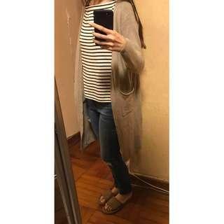 女裝長身版杏卡其色薄款冷外套 有兩側袋